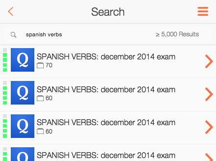 device screenshot of search for spanish verbs